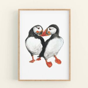Illustration of 2 puffins touching beaks - wooden frame