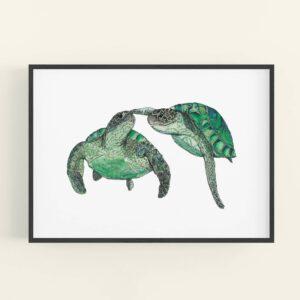 Illustration of 2 turtles swimming - black frame