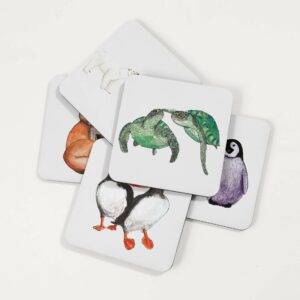 Illustrated animal coasters, featuring foxes, penguins, puffins, polar bears and turtles