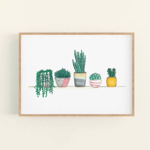 Framed print of cute house plants and succulents lined up on a shelf - wooden frame