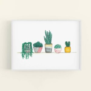 Framed print of cute house plants and succulents lined up on a shelf - white frame
