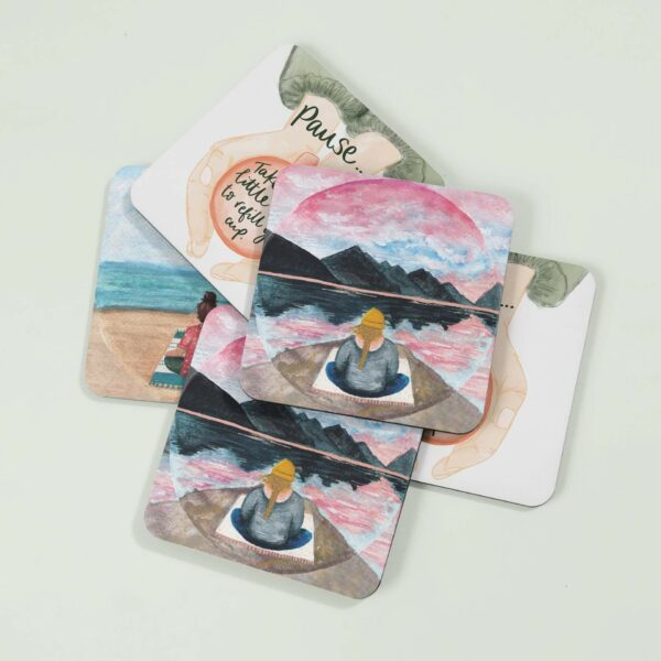Meditation themed coasters with quotes and illustrations