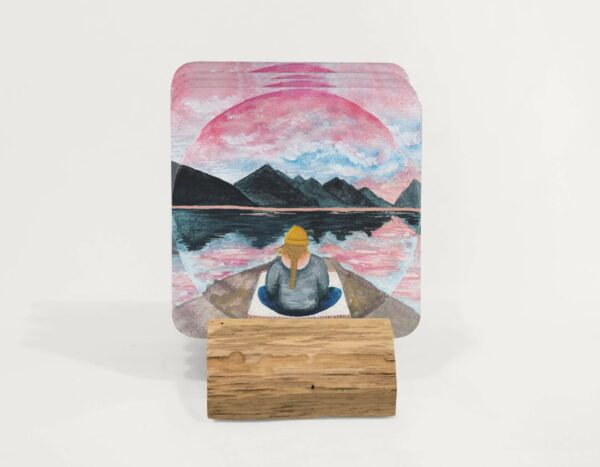 meditating by the mountains - set of coasters
