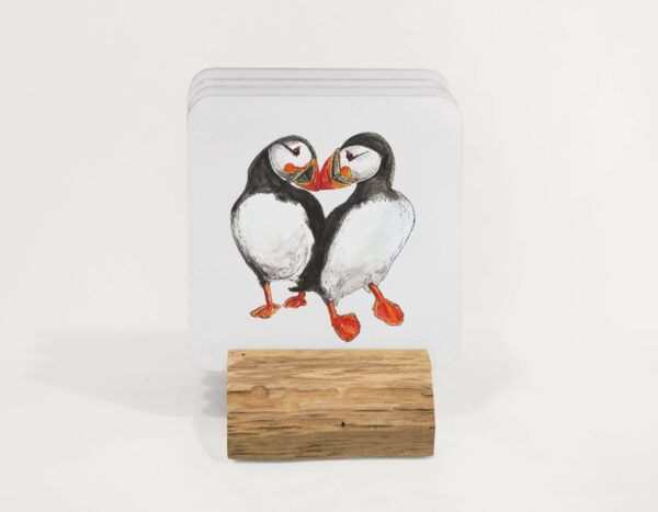 4 Puffin coasters