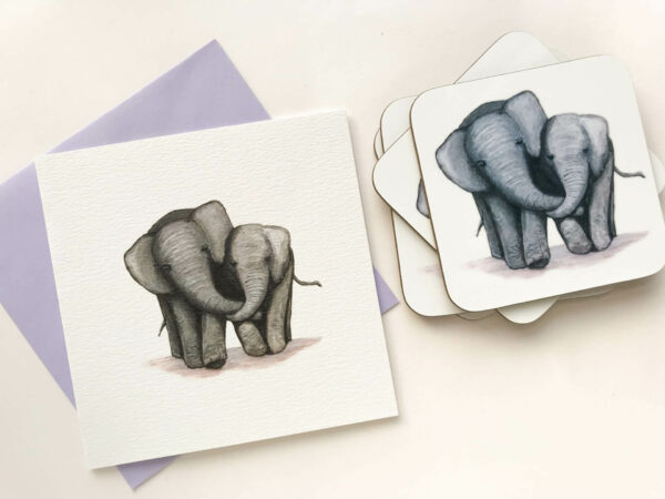 Coasters with illustrated design of 2 cute elephants and matching greeting card