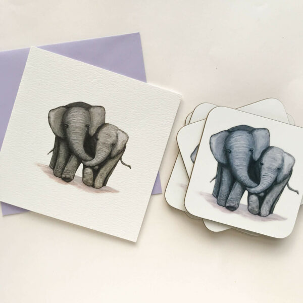 Coasters with illustrated design of 2 cute elephants and matching greetings card