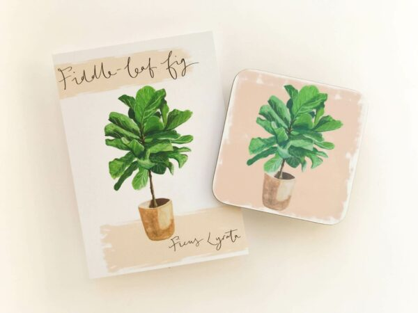Stack of illustrated house plant coasters in fiddle leaf design and matching postcard