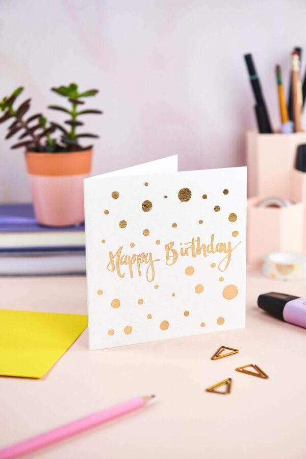 Happy birthday card designs with simple polka dot design and gold foil detail