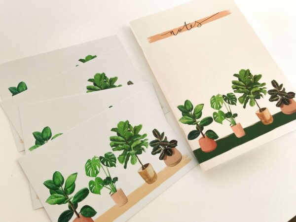 matching illustrated house plant selection of gifts, including notebook and postcards