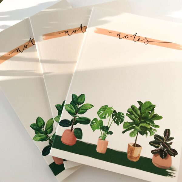 Stack of house plant A5 notebooks with 'notes' title on the front.