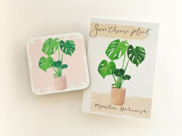 Stack of house plant coasters with monstera illustration design and matching postcards