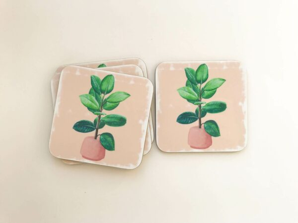 Stack of house plant coasters with rubber plant illustration design