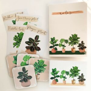 matching illustrated house plant selection of gifts, including notebook, postcards and coasters