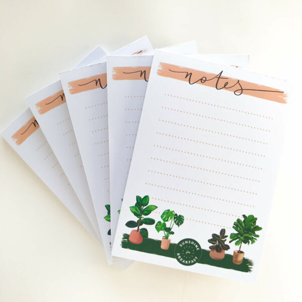 House plants notepads, with 4 house plant illustrations