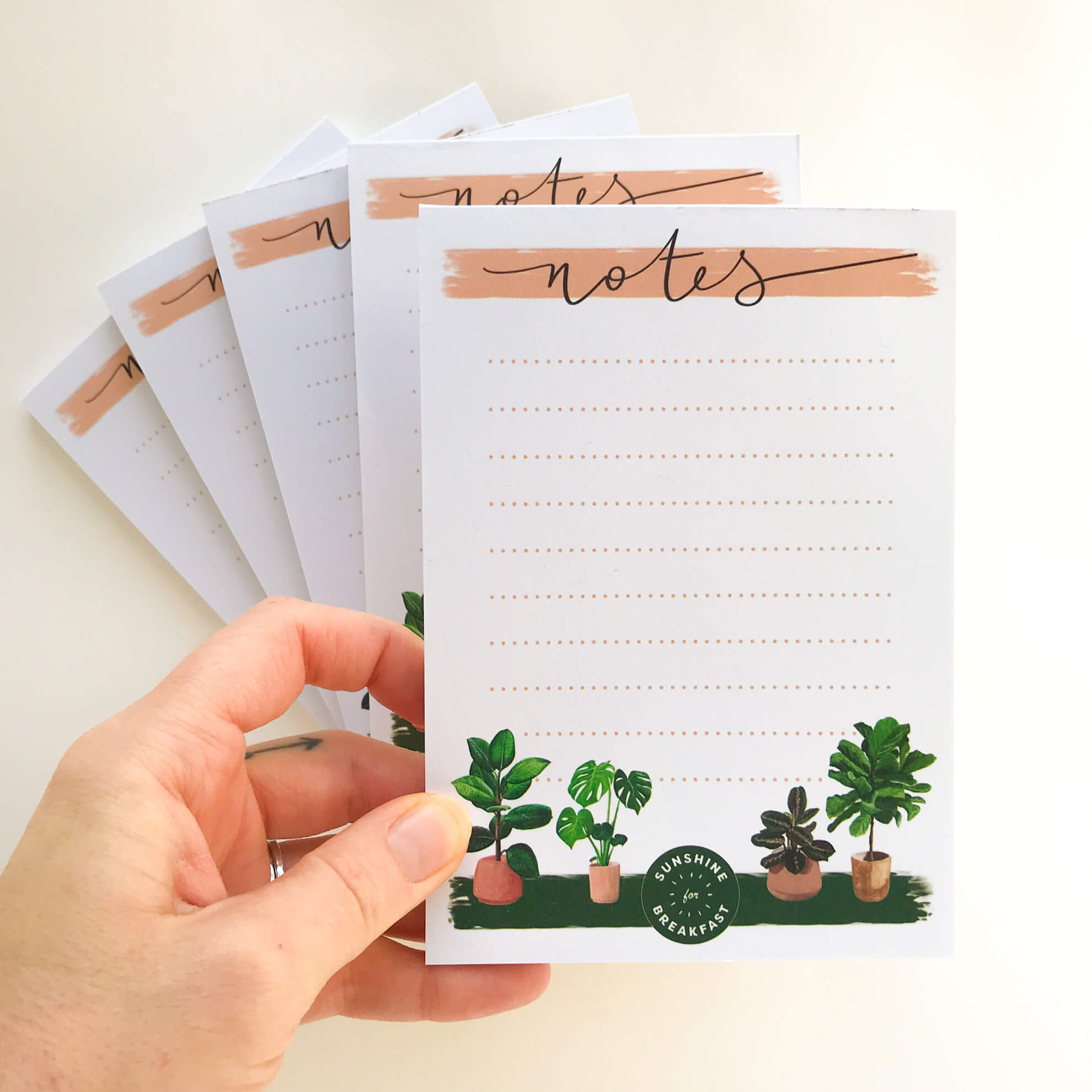 House plants notepad, with 4 house plant illustrations