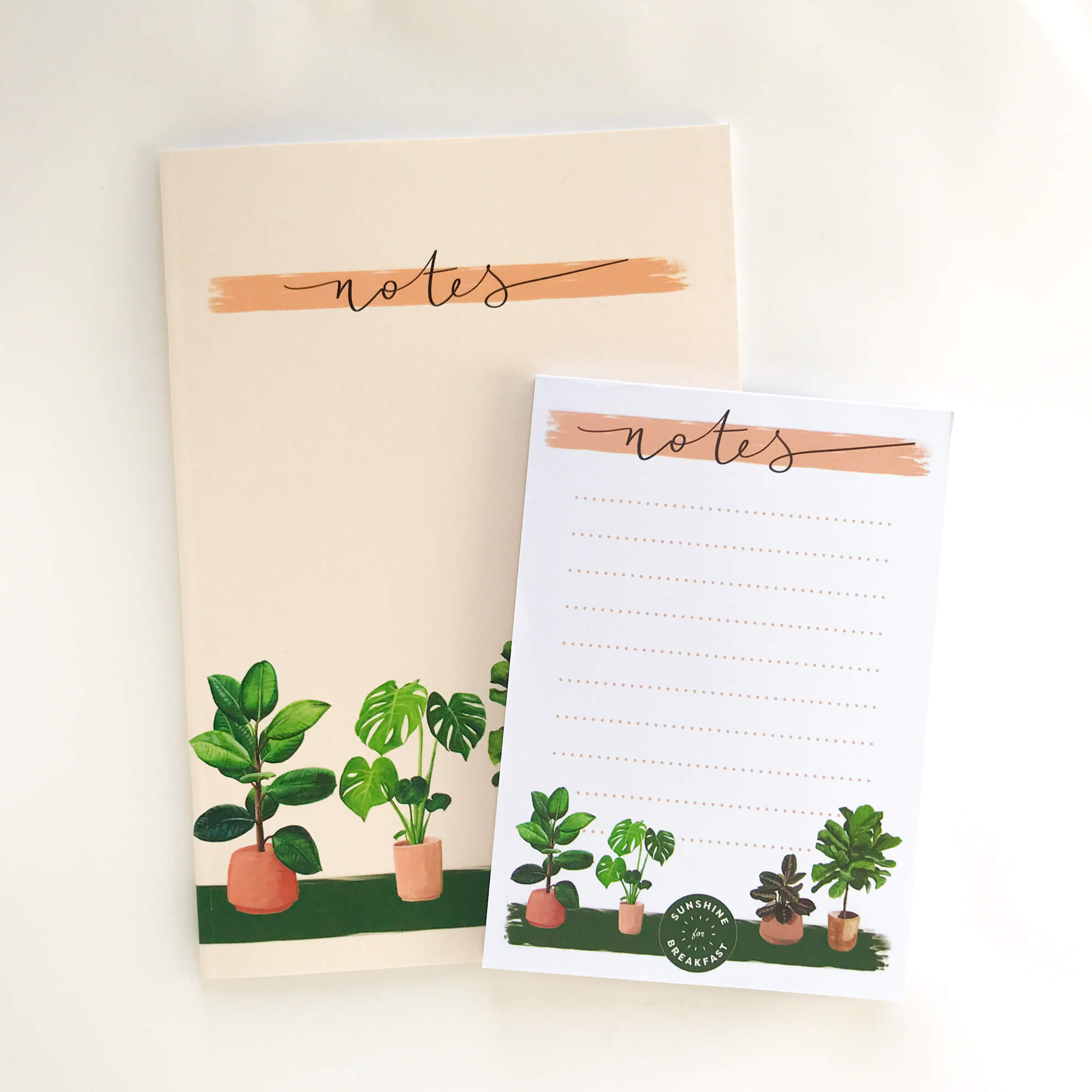 House plants stationery bundle, with A5 notebook and A6 notepad.