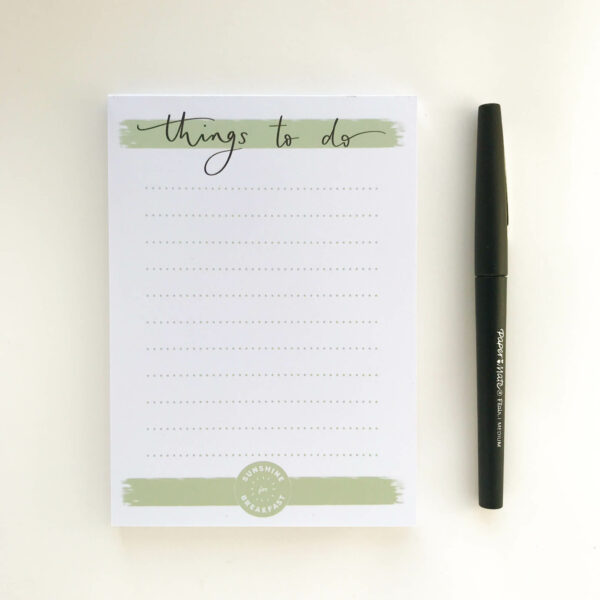 Notepad in minimal green and white design, with 'Things to do' title at top of page