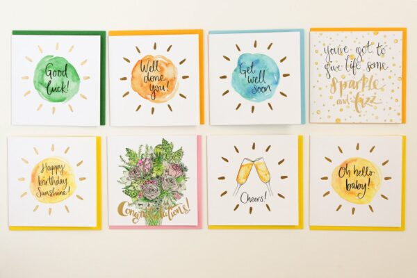 range of greetings cards by sunshine for breakfast