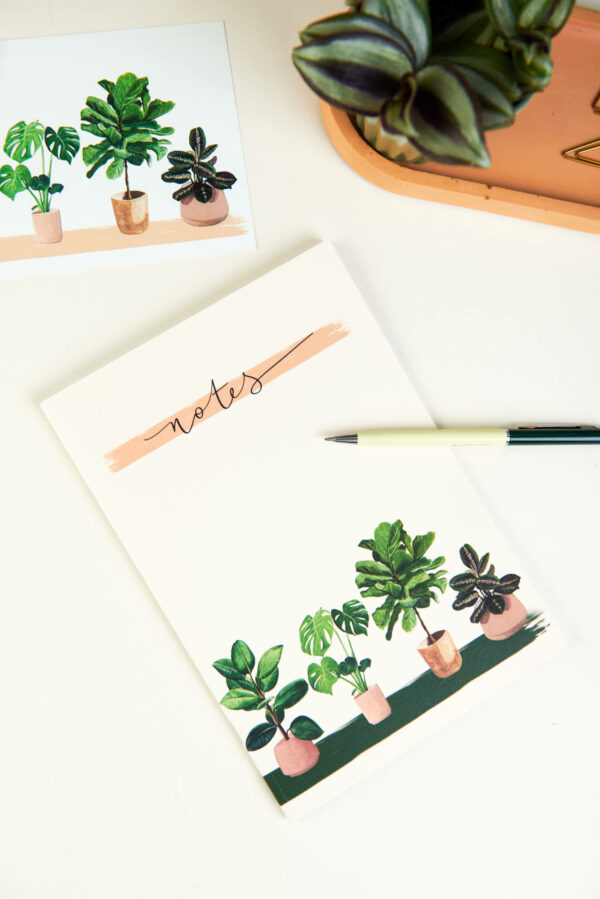 illustrated A5 house plants notebook with matching postcard