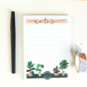 illustrated house plants A6 notepad