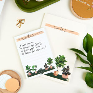 house plants stationery bundle, notepad and notebook